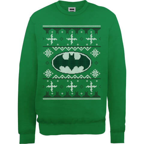 DC Batman Christmas Knit Logo Green Christmas Sweatshirt