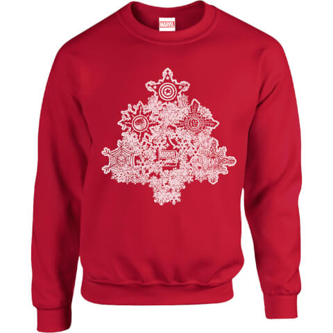 Marvel Comics Marvel Shields Christmas Tree Red Christmas Sweatshirt