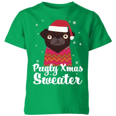 Pugly xmas Sweater Kids' T-Shirt - Kelly Green