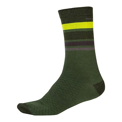 BaaBaa Merino Stripe Sock - Forest Green