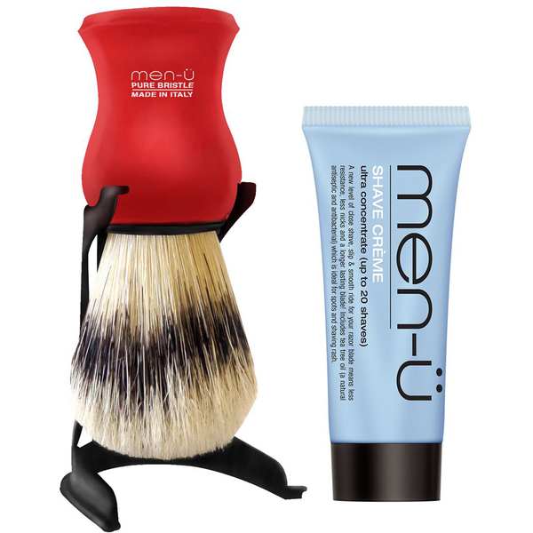 men-ü Barbiere Shave Brush and Stand - Red