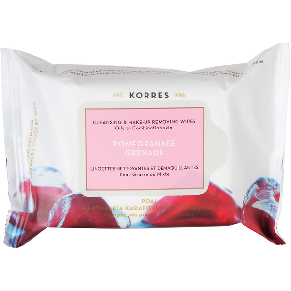 KORRES Pomegranate Cleansing Wipes - Oily/Combination Skin (25 Wipes)