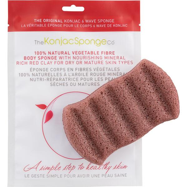 Éponge de bain 6 wave à l'argile rouge de The Konjac Sponge Company