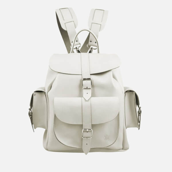 Unique Grafea Bianca Medium Leather Rucksack - White SV35