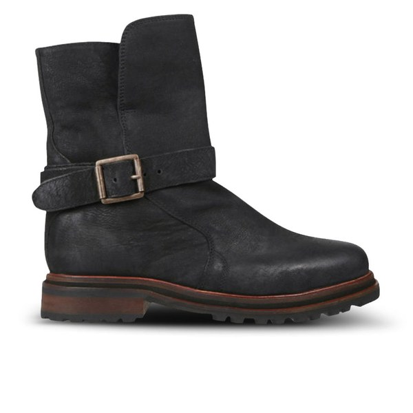 H Shoes by Hudson Women's Tatham Calf Leather Buckle Boots - Black