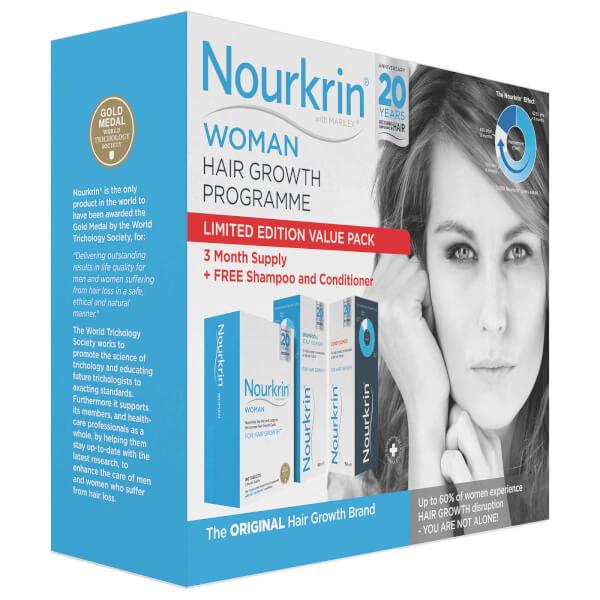 Pack vitamines soin des cheveux Nourkrin Woman - 180 cachet + shampooin et après-shampoing gratis (2x150ml)