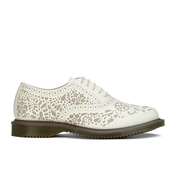 Dr. Martens Women's Kensington Aila Skull Etched 5-Eye Leather Shoes - Off White