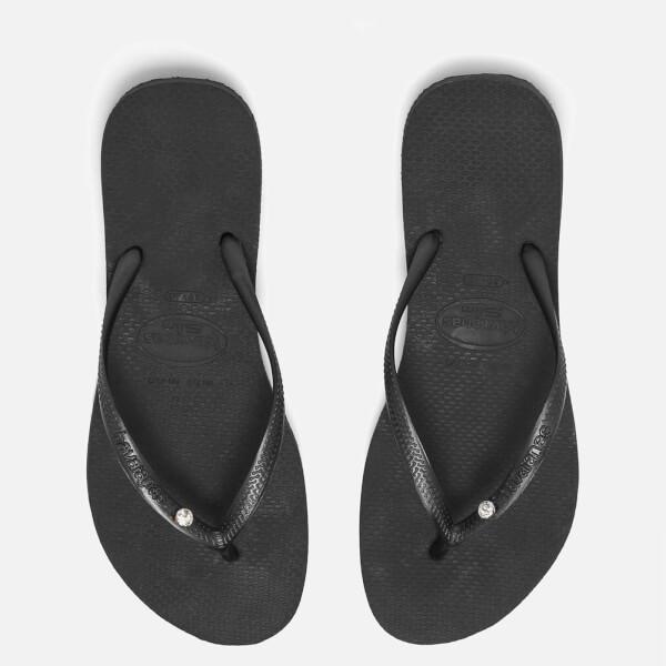 393507a192358 Havaianas Women s Slim Swarovski Crystal Glamour Flip Flops - Black  Image 1
