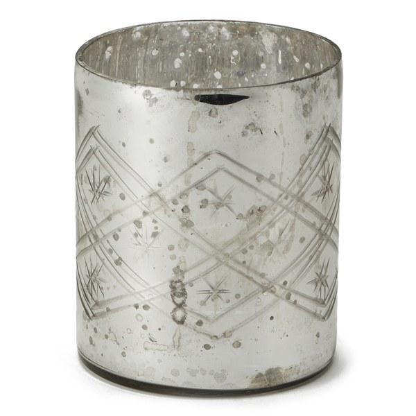 Nkuku Small Etched Glass T Light Holder Rustic Silver