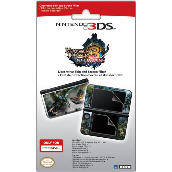 Nintendo 3DS XL Monster Hunter 3 Ultimate Screen Protective Filter & Skin Set