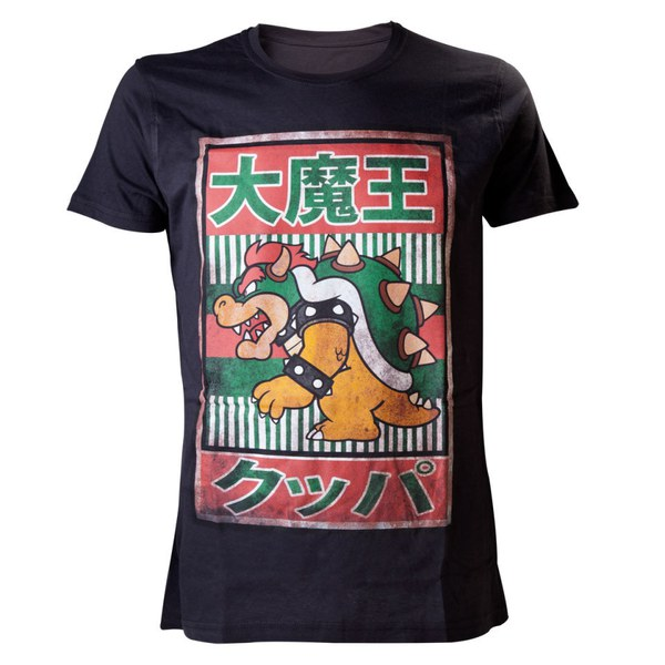 Nintendo Men's Black Bowser Kanji T-Shirt - Black