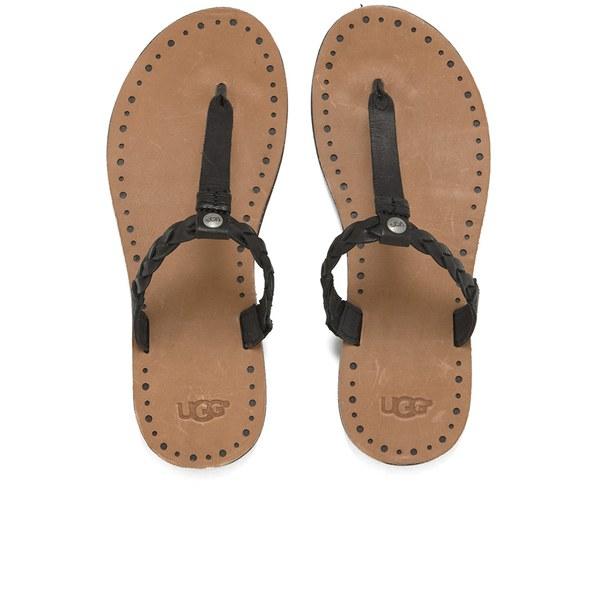 UGG Women's Bria Leather Flip Flops - Black: Image 1