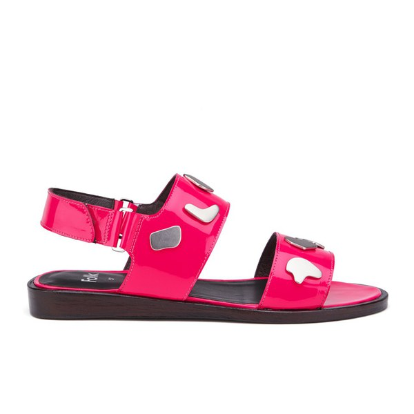 Folk Women's Indra Two Part Patent Leather Sandals - Fluro Pink