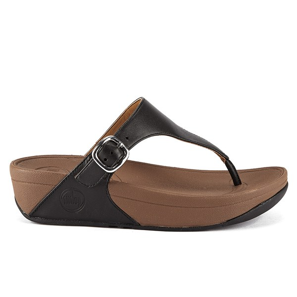 44d1e8b98cc948 FitFlop Women s The Skinny Cork Leather Toe Post Sandals - Black  Image 1