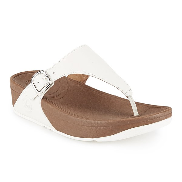 6d657e01e59d FitFlop Women s The Skinny Cork Leather Toe Post Sandals - Urban White   Image 3