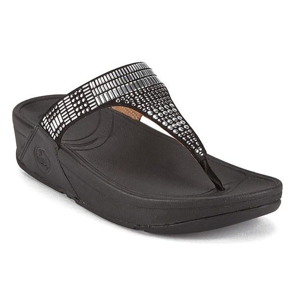 FitFlop Women's Aztek Chada Suede Toe Post Sandals - Black/Silver Stones:  Image 3