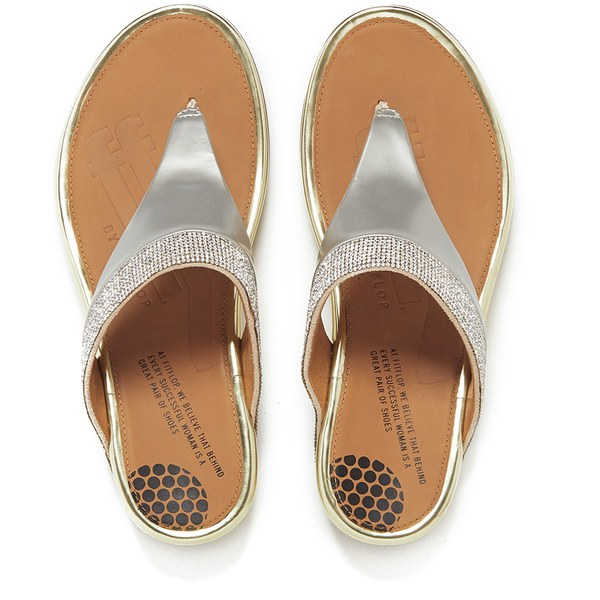 ead202cb810a FitFlop Women s Banda Micro-Crystal Leather Toe Post Sandals - Pale Gold   Image 2