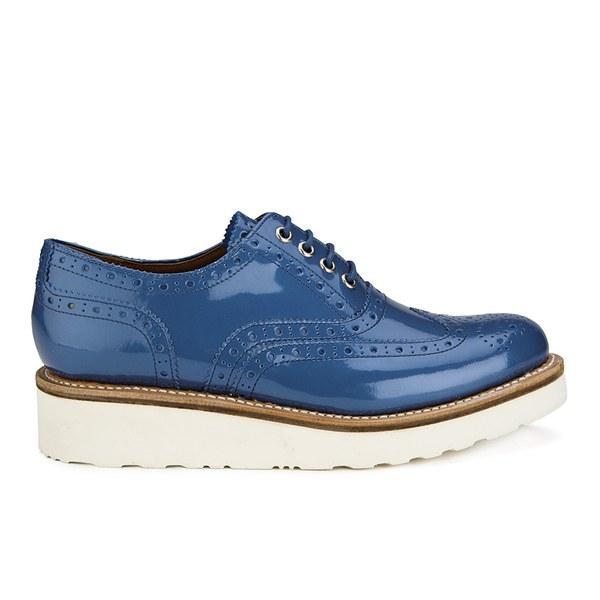 Grenson Women's Emily V Patent Leather Platform Brogues - Blue