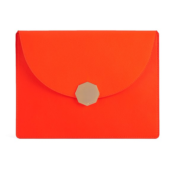 meli melo Women's Grip Leather Clutch - Coral
