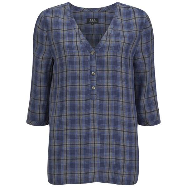 A.P.C. Women's Kentucky Linen Check Blouse - Indigo