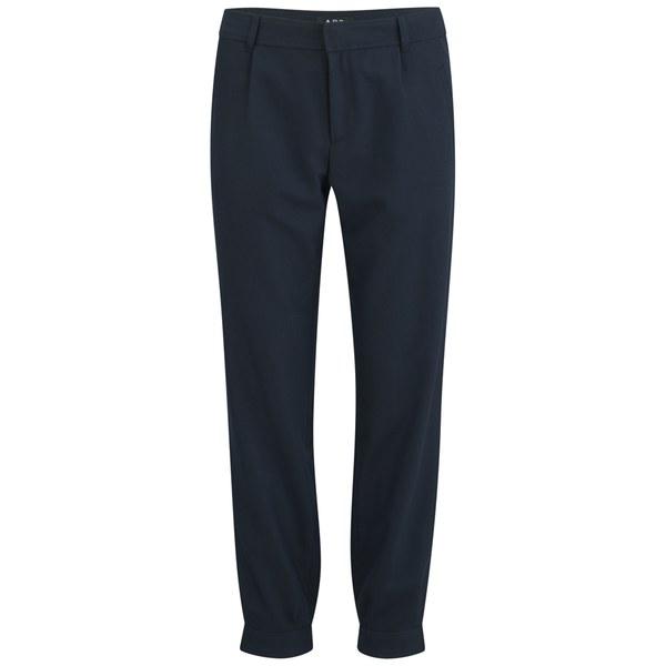 A.P.C. Women's Megeve Cotton/Wool Chevron Trousers - Dark Navy