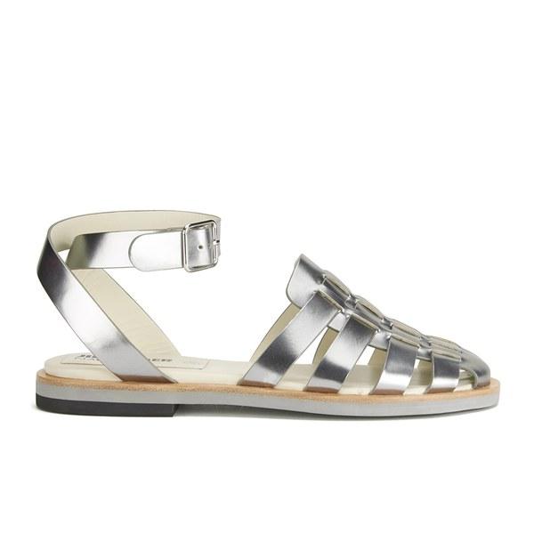 Jil Sander Navy Women's Leather Strappy Ankle Strap Sandals - Dark Grey