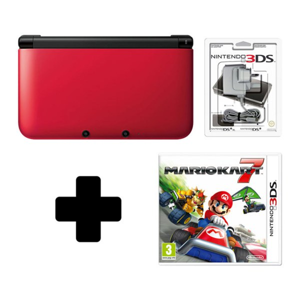 nintendo 3ds xl red black mario kart 7 pack nintendo official uk store. Black Bedroom Furniture Sets. Home Design Ideas