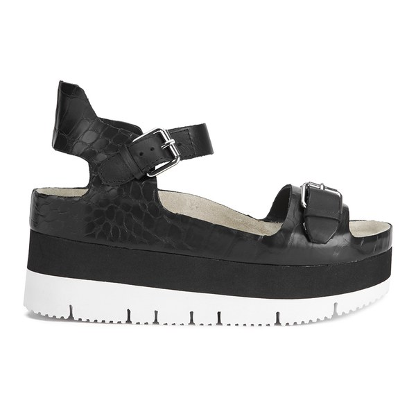 Ash Women's Vera Flatform Leather Sandals - Black
