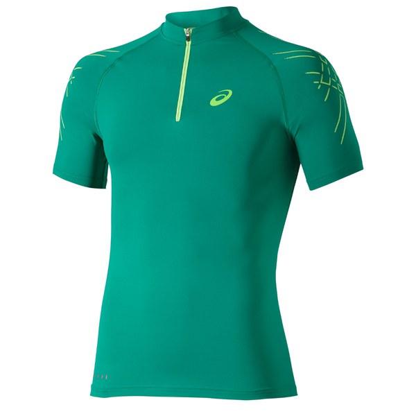 Asics Men's 1/2 Zip Running T-Shirt - Jungle Green