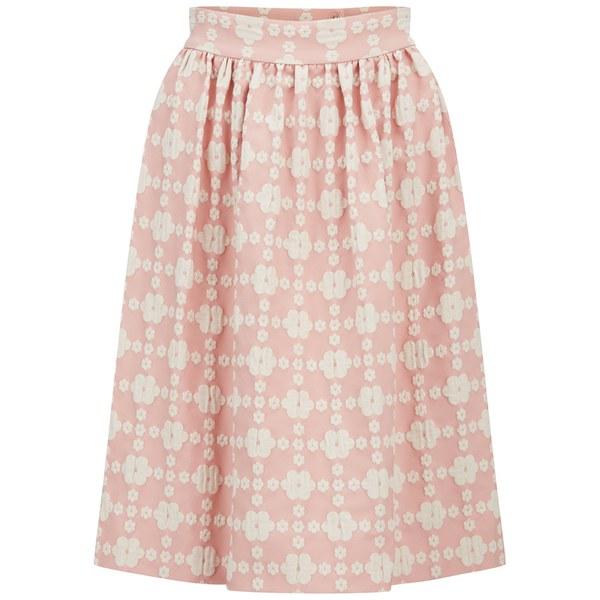 Orla Kiely Women's Daisy Gingham Jacquard Gathered Skirt - Blush