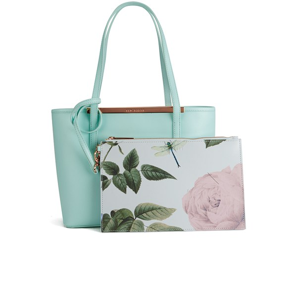 38b9a21b2f8 Ted Baker Women's Lilley Print Lining Small Crosshatch Shopper Bag - Mint:  Image 1