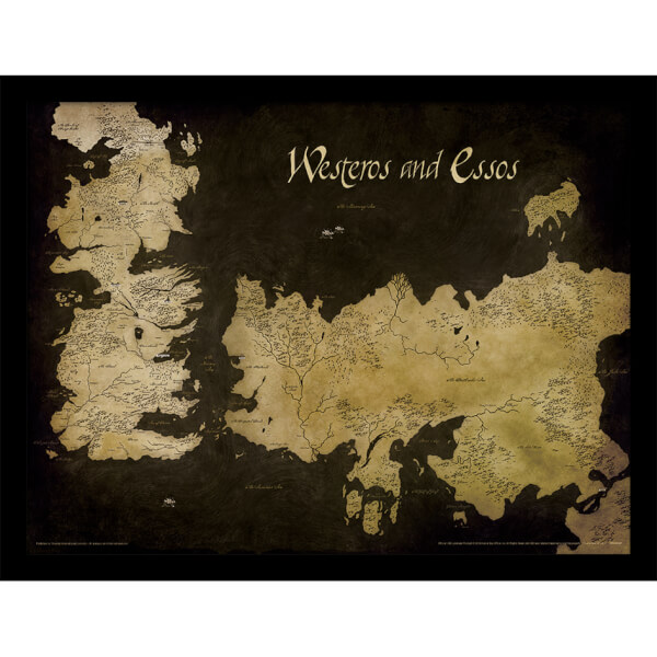 Game of Thrones - Westeros And Essos Antique Map - Framed 30x40cm ...