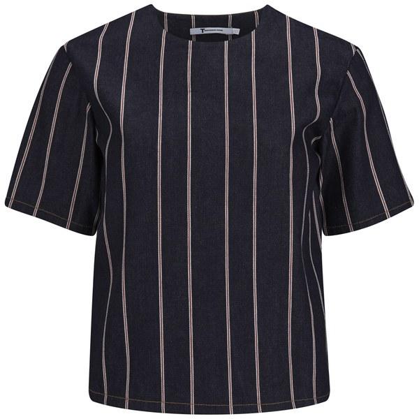 T By Alexander Wang Women's Striped Denim Short Sleeve Top - Dark Indigo