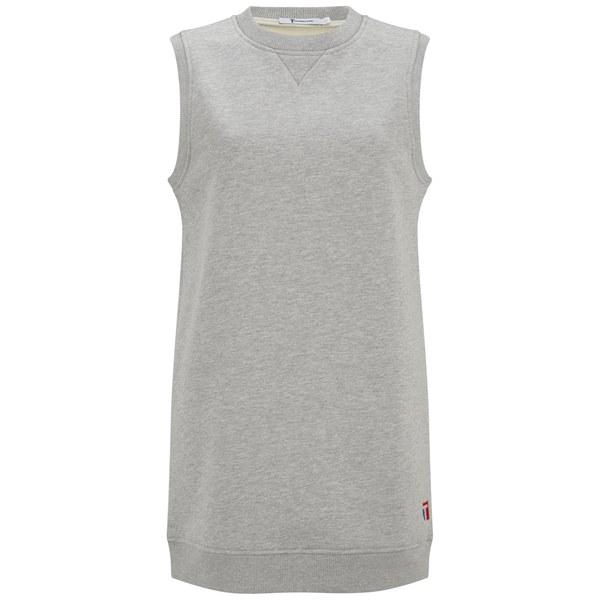T by Alexander Wang Women's Bonded Fleece Muscle Sweatshirt Dress - Heather Grey