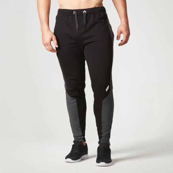 myprotein men 39 s panelled slimfit sweatpants with zip black. Black Bedroom Furniture Sets. Home Design Ideas
