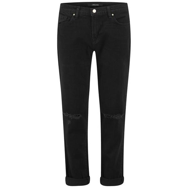 J Brand Women's Jake Black Distressed Boyfriend Jeans - Gothic Black