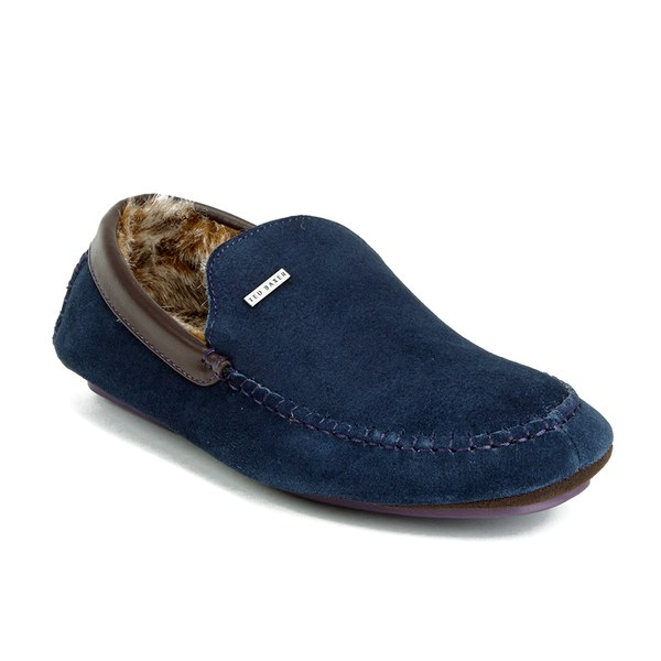 Ted Baker Men's Maddoxx Faux Fur Lined Suede Moccasin Slippers - Dark Blue:  Image 5