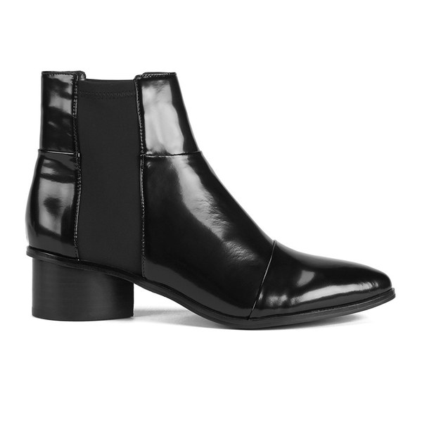 Senso Women's Karina II Neoprene Insert Hi Shine Leather Ankle Boots - Ebony