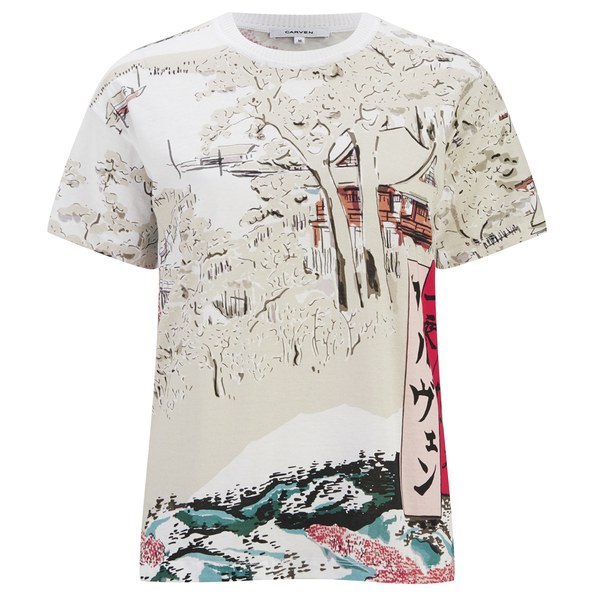 Carven Women's Printed T-Shirt - White: Image 1