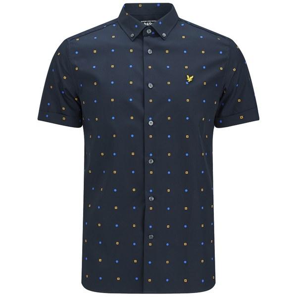 e1e8050a2e9 Lyle   Scott Men s Micro Print Woven Short Sleeve Shirt - Navy Mens ...