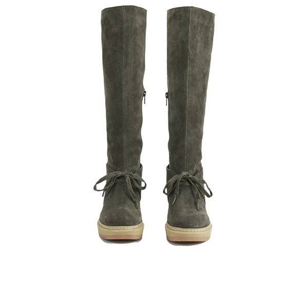see by chlo 233 s suede knee high wedge boots grey