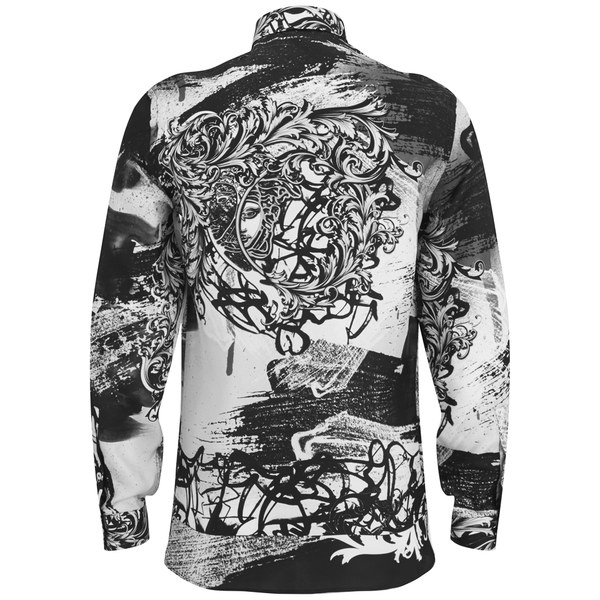 f5d30e033a5b Versace Men s Patterned Long Sleeve Shirt - Black White - Free UK ...