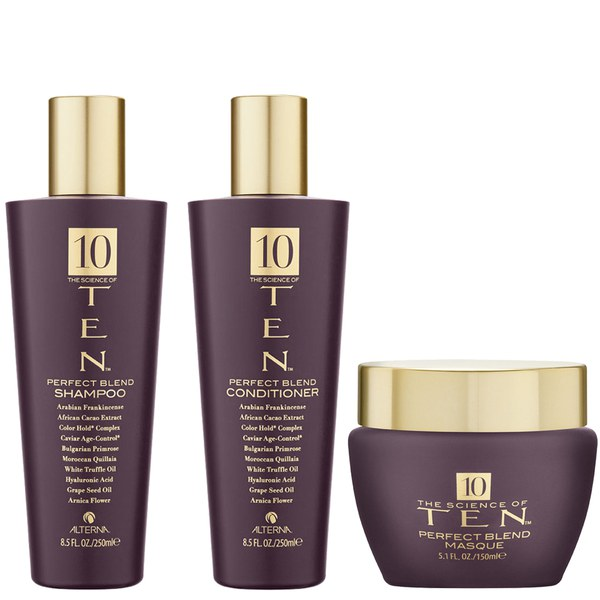 Champú (250 ml), Acondicionador (250 ml) y Mascarilla (150 ml) Ten Perfect Blend de Alterna