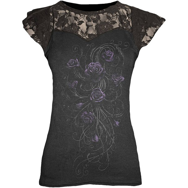 Spiral Women's ENTWINED Lace Layered Cap Sleeve Top - Black