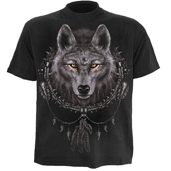 T-Shirt Homme Spiral Wolf Dreams - Noir