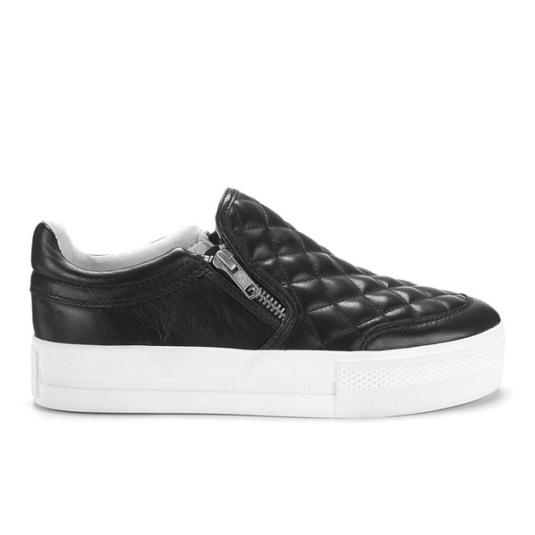 Ash Women's Jodie Quilted Leather Double Zip Flatform Trainers - Black