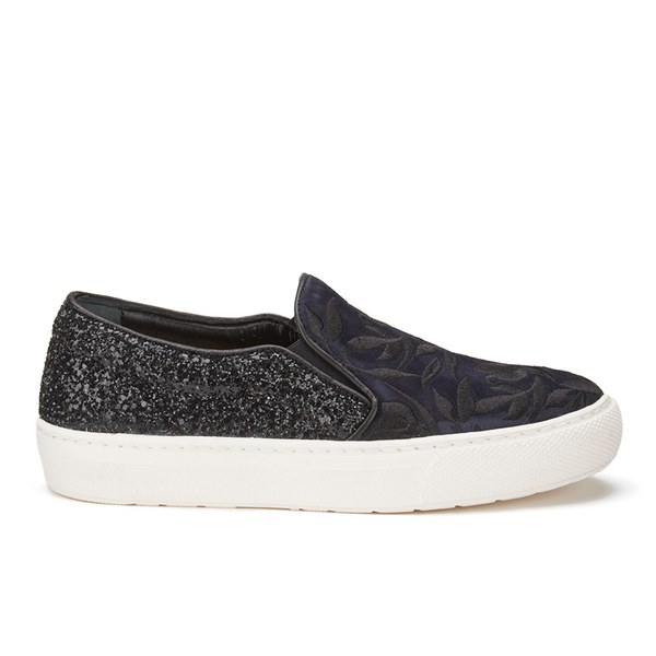 Markus Lupfer Women's Multi Printed Slip-On Trainers - Navy Suede/Black Glitter
