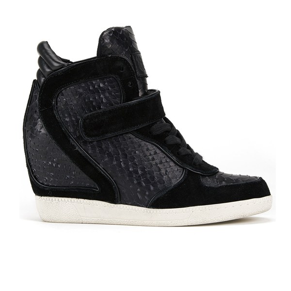 Ash Women's Brendy Leather Snake Print Wedged Trainers - Black