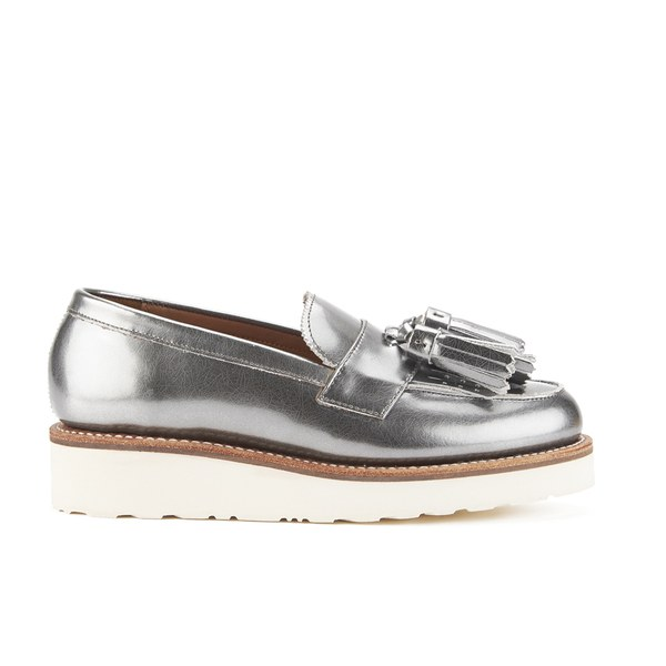 Grenson Women's Clara V Leather Tassle Loafers - Silver Crackle Calf