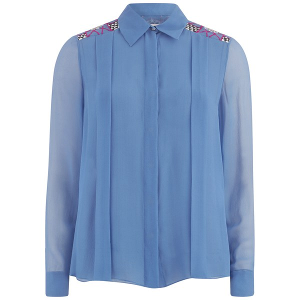 Matthew Williamson Women's Georgette Embroidered Shirt - Forget Me Not